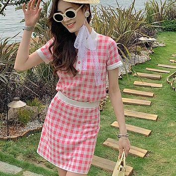 Cute Sweet Plaid Knitted 2 Piece Set Women Short Sweater Pullover Mini Skirts Sets Suits Ensemble Femme Two Piece Outfits