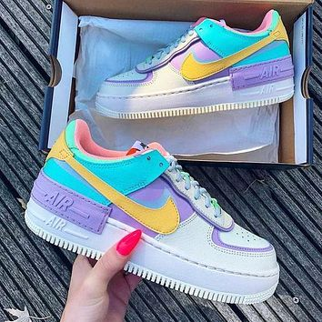 inseva NIKE Air force AF1 shadow macaron low Top cream  Blue Yellow Purple