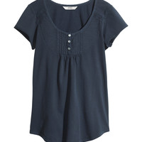 H&M - Jersey Top with Buttons - Dark blue - Ladies