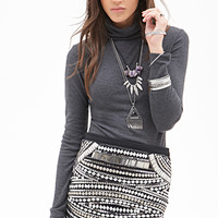 FOREVER 21 Ribbed Turtleneck Top Charcoal