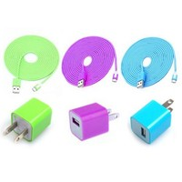 Total 6pcs/Lot! USBCable Cord (1M)&USB Power Charger For Iphone 5