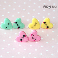 Set of 3 pairs kawaii heart ear studs