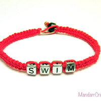 Hot Pink Swim Bracelet, Neon Pink Bamboo Jewelry for Swimmers, Fitness Motivation