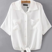 White Short Sleeve Pointed Flat Collar Tie Bottom Blouse