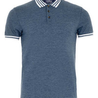 BLUE AND WHITE TIPPED POLO SHIRT - Men's Polo Shirts - Clothing