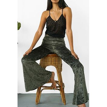 Temple Ro Velvet Bell Bottom Pants