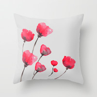POPPIN' POPPIES  Throw Pillow by Lauren Lee Designs