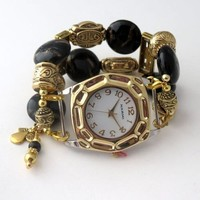 Gold and Black Beaded Watch Band and Gold Watch Face W685