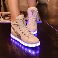 USB charging supply colorful luminous shoes light shoes LED shoes (Choose One Size bigger) [8096620999]