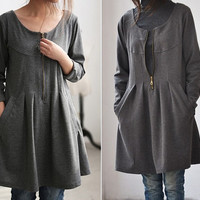 fall pleated knee length Bottoming shirt