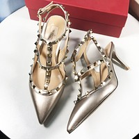 Valentino Popular Women Stylish Princess Pointed Rivet Sandals Shoes