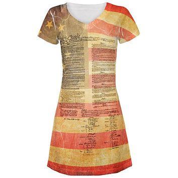 July 4th United States Constitution Betsy Ross Flag All Over Juniors Beach Cover-Up Dress