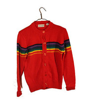 Vintage 70s Rainbow Cardigan Sweater Red ROYGBIV Button Up Shenanigans Cardigan