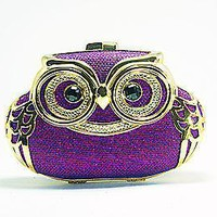 Owl Shape Minaudiere Strappy Hot Crystal Clutch Women Fashion Purple Designer Ba