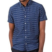 Navy Blue with White Jacquard Pattern Short Sleeve Shirt - Spiro Size S Available