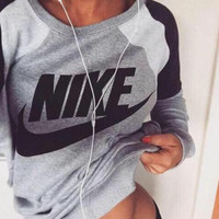 """Fashion Letter Print Round Neck Top Pullover Sweater """"Nike"""" Sweatshirt"""