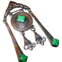 "Asian Brooch Pin Peking Green Glass Rhinestone Silver Plated Dangle BIG 3 1/4"" Vintage Antique"