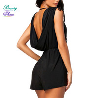 High Street 2016 New Fashion Summer Style Solid Deep V Neck Sleeveless Sexy Rompers Womens Jumpsuit Bodysuits Pleated Overalls