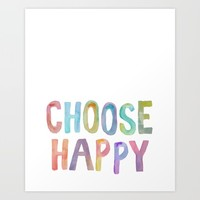 """Inspirational Quote """"Choose Happy"""" Watercolor Letters Typography Nursery Print Motivational Quote Art Print by PrintableLifeStyle"""