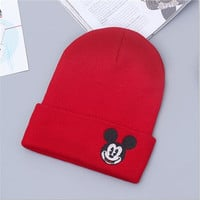 Mickey Mouse Beanie Unisex Warm Winter High Quality Lovely Womens & Mens Knitted Ski Cap Red Cuffed Skully Hat