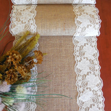 Burlap table runner wedding table runner burlap lace wedding decor rustic wedding  bridal shower