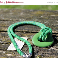 Long Green Rope Necklace, Green Metal Ceramic Pendant, Bead Crochet Necklace, Luxury Necklace, Beadwork Beaded Necklace, Gift for Her