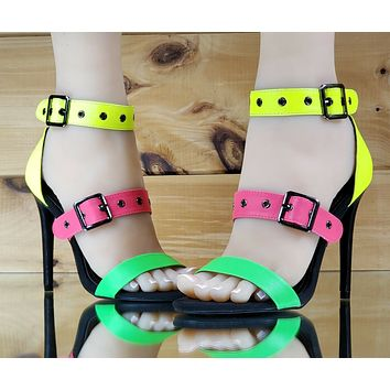 "CR Fused Shoe Triple Strap 4.5"" High Heels Closed Back Sandal Neon Colors 6-11"