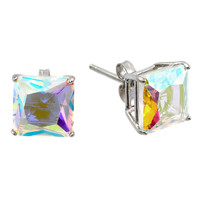 .925 Sterling Silver Rhodium Plated Square Aurore Boreale Light Glass Cubic Zirconia Stud Earring