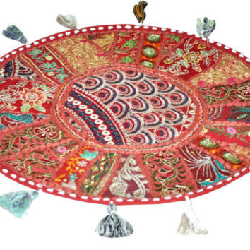 """17"""" Indian pouf ottoman Round Floor Pillow Cushion Red embroidered Bohemian Patchwork floor cushion pouf Vintage Indian Foot Stool Bean Bag"""
