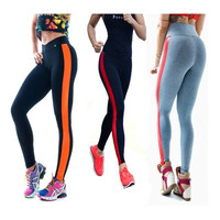 Fashion Women's Stripe Sport Patchwork Gym Yoga High Waist Neon Leggings fitness = 1933247876