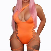 Fashion Summer New Solid Color Hollow Wading Sports Swimsuit Straps One Piece Bikini Orange