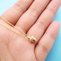 Tiny, Cute, Gold, Acorn, Necklace