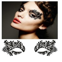 Lace Living Fashion Palace Women Black Prom Artistic Hollow Flower Dress Adhesive Costume Halloween Lace Eye Magic Mask Eyelashes Make up Decals Stickers