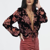 The Depths Plum Floral Velvet Top