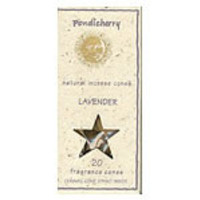 Pondicherry Natural Incense Lavender Cones 20 per package (includes ceramic cone stand)