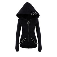 2018 Gothic  Hoodie Sweatshirts Women  Black Crop Top punk hoodies Autumn Loose Women Hoodies Sweatshirts Female Casual Coat