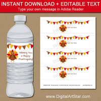 Thanksgiving Decorations - Thanksgiving Water Bottle Labels - Thanksgiving Bottle Wraps - Thanksgiving Birthday Decor - Turkey Decorations