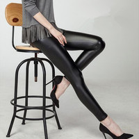 Pants Skinny Faux Leather black high waist in size S to 3XL