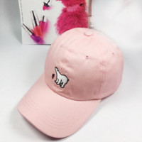 Pink Polar Bear Embroidered Baseball Cap Hat