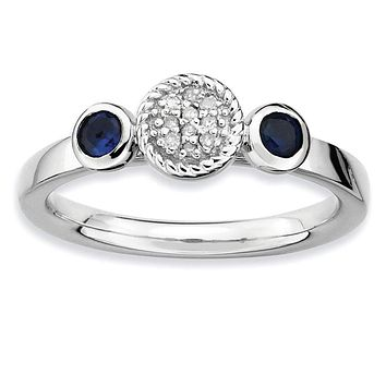 Sterling Silver Stackable Expressions Dbl Round Cr. Sapphire & Dia. Ring