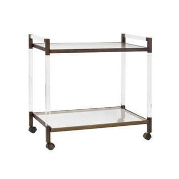 Archie Acrylic & Bronze Bar Cart by Worlds Away