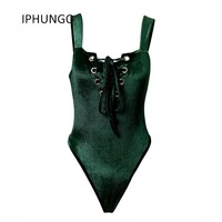 2017 Rushed Elegant Jumpsuit IPHUNGO Women Sexy Bodysuits Solid Skinny Sleeveless Party Collect Waist Jumpsuits European Style