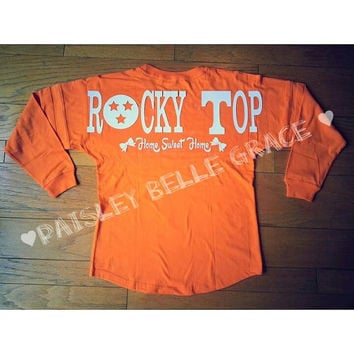 Rocky Top Home Sweet Home Spirit Jersey Pom Pom Pullover Orange Tennessee Vols Volunteers Football Game day Shirt