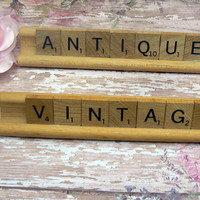 Scrabble Tile Antiques Vintage Rack Signage Personal Business Display Booth Trade Show Market Word Accent Pair Holder Game Home Decor Plaque