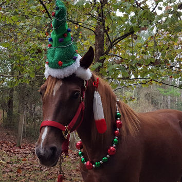Christmas Tree Hat for Horse or Pony -- Equine Christmas Tree Hat - Fun Holiday Horse Hat Costume