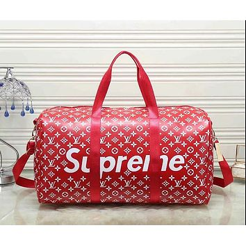 Louis Vuitton x Supreme Fashion Leather Travel Luggage Bag Tote Handbag