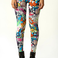 Lena Comic Strip Print Leggings