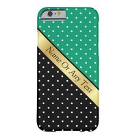 For Ladies Chic Jade Green Black /White Polka Dots Barely There iPhone 6 Case