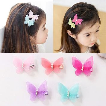5 Pcs/lot Candy Color Bow Butterfly Hair Clips Girls' Hair Grips Kids Hairpin Headwear Accessories PC003