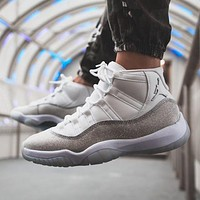 Air Jordan 11 Metallic Silver High-Top Sports Casual Basketball Shoes